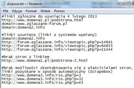 Внешний вид файла с нежелательными ссылками