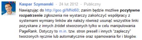 Wpis Kaspara na Google+
