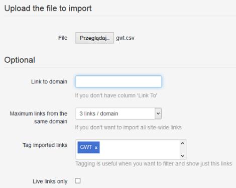 Импорт ссылок из Инструментов Google для веб-мастеров